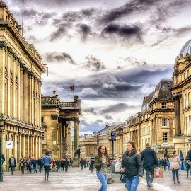 Grey Street by Adam Lang - City,  Street & Park  Street Scenes ( clouds, sky, buildings, newcastle, grey street, city )