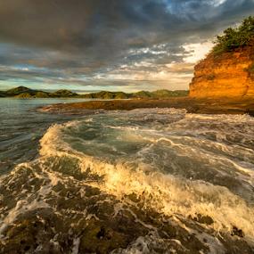 how to get wet feet by Annette Flottwell - Landscapes Beaches ( junquillal, splash, guanacaste, playa, beach, punta calavera, rocks,  )