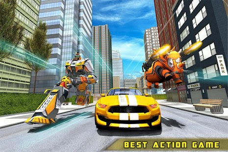 Futuristic Rhino Robot Car Transformation Game for pc
