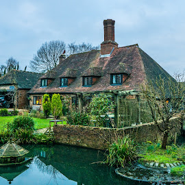 Country house in England by Lucian Pirvu - Buildings & Architecture Homes ( england, hurstpierpoint, wood, green, lake, historic district, bridge, historical, house, garden, country,  )