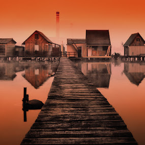 Reflection by Cvetka Zavernik - Buildings & Architecture Public & Historical ( reflection, bridge, water, house, lake )