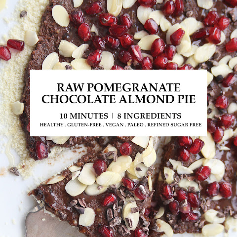 10minute Raw Pomegranate Chocolate Almond Pie