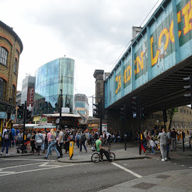 camden by Kathleen Devai - City,  Street & Park  Street Scenes ( london, street, bridge, people, city )