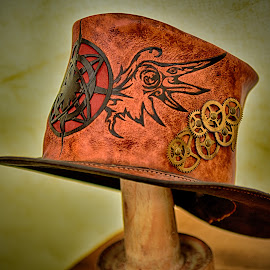 Timeless ! by Marco Bertamé - Artistic Objects Clothing & Accessories ( red, gear wheel, brown, leather, hat )