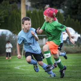 Friends and Rivals by Garry Dosa - Sports & Fitness Soccer/Association football ( teams, boys, action, sports, children, competitive, running, soccer )