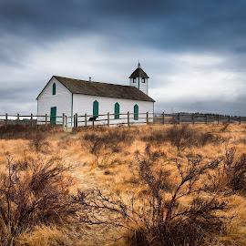 Historical Church  by Yves Gagnon - Landscapes Travel ( churhc, clouds, hrd, structure, alberta, canada, scenics, spring, protected site, religion, tourist, mountains, sky, cold, blue, monument, long exposure )