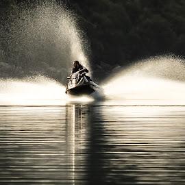 Fun on the water by Perla Tortosa - Sports & Fitness Watersports ( water, spray, glassy, jetski, sport, lake, spring, man )