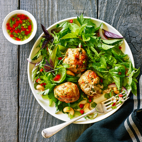 Turkey Meatballs with Herb Salad