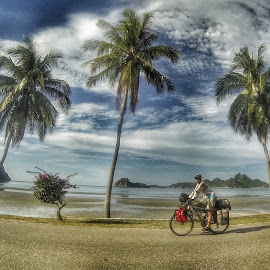 Cycling Thailand by Leana Niemand - Transportation Bicycles ( cycle touring, thailand, beach, travel, bicycle )