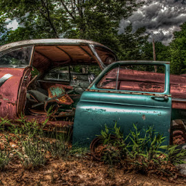 Rode The Doors Off by Chris Cavallo - Transportation Automobiles ( car, maine, automobile, rusty, rust, aqua, decay, abandoned )