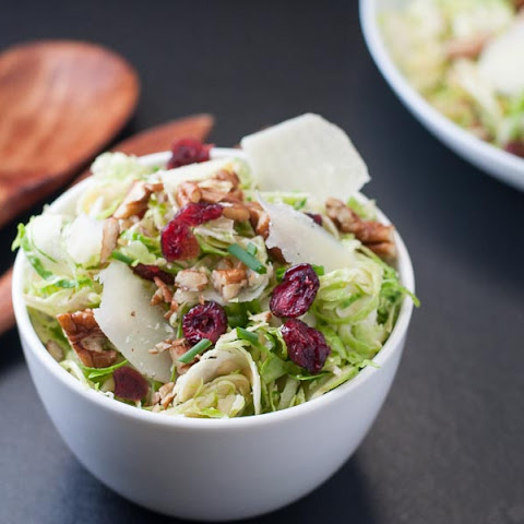 Brussel Sprout Salad with Cranberries and Pecans