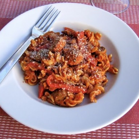 Skinny Pasta with Sausage, Peppers, Onions & Mushrooms