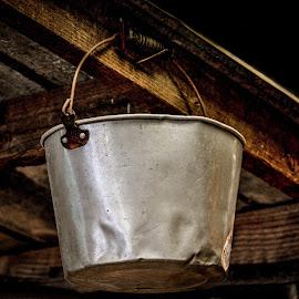 Hanging Bucket by Christy Stanford - Artistic Objects Antiques ( hanging, old, wood, vintage, bucket, porch )