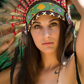 Native American Girl / Jackie 002 by Barry Blaisdell - People Portraits of Women ( sexy, model, nature, outdoors, beautiful, indian, native american )