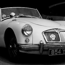 Roadster at Eridge by DJ Cockburn - Transportation Automobiles ( spa valley railway, tourer, britain, 854 yud, vehicle, grayscale, eridge station, automobile, kent, white car, car, classic car, antique, black and white, sports car, historic, mg roadster, convertible, cabriolet, heritage, history, transport, transportation, vintage, eridge, 2018 summer transport festival, monochrome, travel )