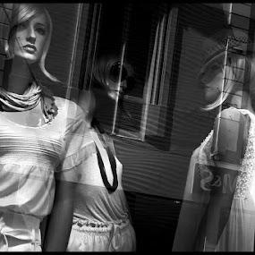 Reflexions by Fernand De Canne - City,  Street & Park  Street Scenes ( windows, belgium, black&white,  )