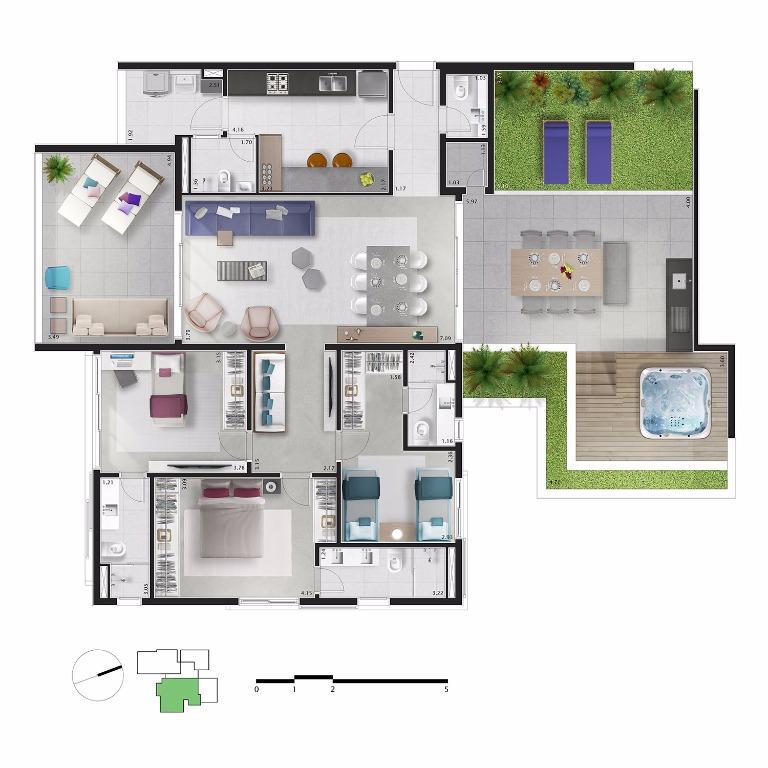 Planta Apto 72 - 216 m²
