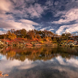 Autumn´s Reflection by Þorsteinn H. Ingibergsson - Landscapes Waterscapes ( clouds, iceland, reflection, sky, nature, autumn, structor, landscape )