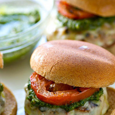 Pesto Mozzarella Turkey Burgers with Grilled Tomatoes