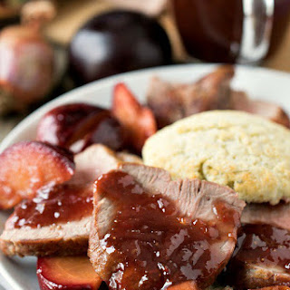 Pork Tenderloin with Strawberry-Plum Sauce and Herbed Biscuits