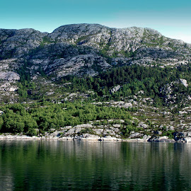 Rock by Mikki W - Landscapes Mountains & Hills ( water, hill, peak, trees, rock, shadows, fjord, norway )