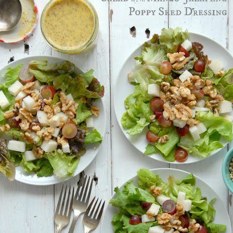 Red Grape-Jicama-Walnut Salad with Mango-Jalapeno Poppy Seed Dressing