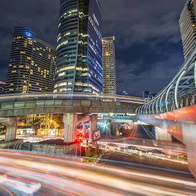 Speed of Life in Bangkok Friday's night by Waraphorn Aphai - City,  Street & Park  Street Scenes ( bangkok, speed, chong nonsi, sathorn road, skytrain )