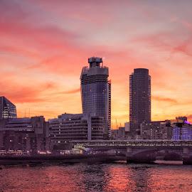 Burning sky over London by Konstanze Singenberger - City,  Street & Park  Skylines ( sky, red, london, sunset, bridge, burning )