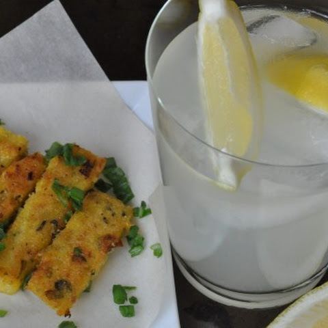 Happy Hour! Fried Polenta with Scallions and Fresh Oregano and a Vodka Lemonade