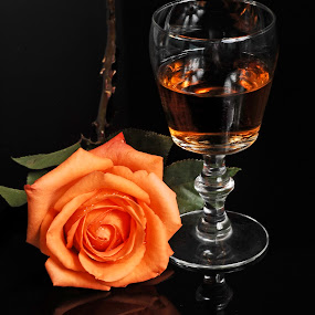 Rose and wine by Cristobal Garciaferro Rubio - Food & Drink Alcohol & Drinks ( cup, wine, rose, drop, drops )