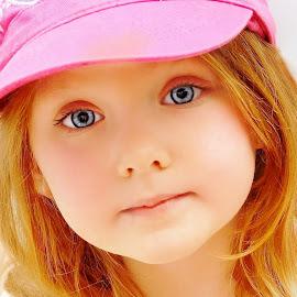Prettiest Girl in a Pink Cap by Cheryl Korotky - Babies & Children Child Portraits