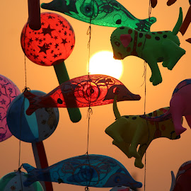 Playfull Sunset by Ajit Singh - Artistic Objects Other Objects ( toys, nature, balloons, sunset, raw, playful )