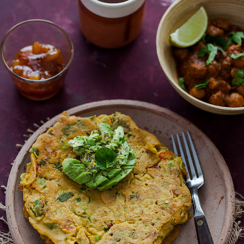 Chilla - Indian Spiced Chickpea Pancakes with Avocado, Kale and Spinach