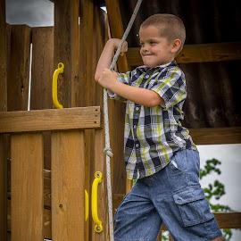 Summer fun by Esther Lane - Babies & Children Children Candids ( child, climbing, rope swing, ventures, strong, candid, swing, boy, KidsOfSummer )