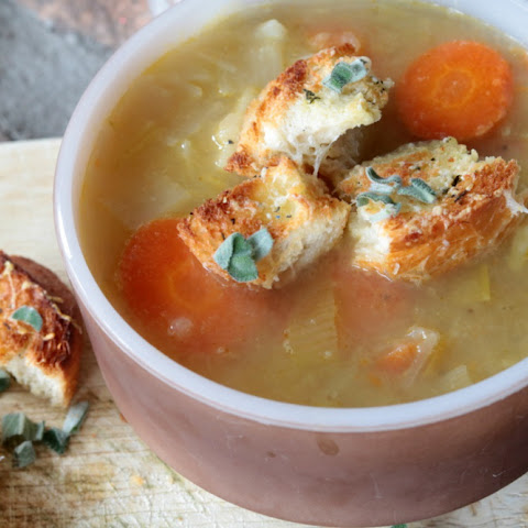 Root Vegetable Soup with Sage Croutons