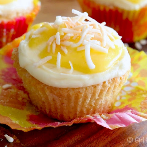 Coconut Cupcakes with Coconut Cream Cheese Icing and Pineapple Curd