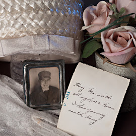 Waiting For Him to Come Home by Sherry Hallemeier - Artistic Objects Antiques ( home, lace, cap, waiting, dress up, coming home, gloves, usa, photo, war, hat, picture, sweet, roses, memories, flowers, antique, note )