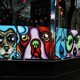 Window Grafitti by Ty Williams - Artistic Objects Other Objects ( grafitti, diversity, window, london, street, glass, cafe, candid, painting, people, street photography )