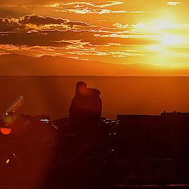 Sunset Rider by Shawn Thomas - Transportation Motorcycles