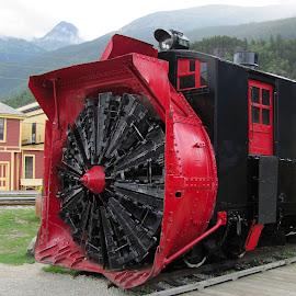 Alaskan Ice Terminator by Debbie Salvesen - Transportation Trains ( massive, winter, railroad, ice, crusher, alaska, train, transportation, railroad track,  )