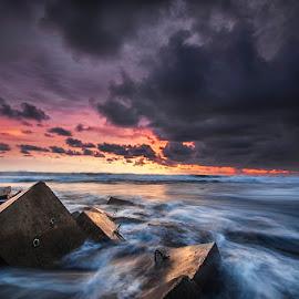Glagah by Andy R Effendi - Landscapes Beaches ( jogjakarta, sunset, seascape, glagah, beach, nikon, motion, rocks )