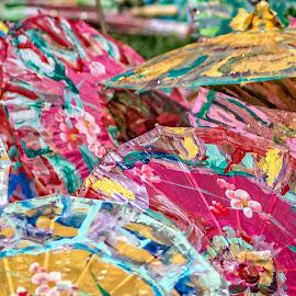 parasols by Fred Faulkner - Abstract Patterns ( colors, d7100, umbrella, artisan, art, parasol, paint )