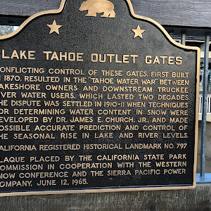 LAKE TAHOE OUTLET GATES CONFLICTING CONTROL OF THESE GATES. FIRST BUILT IN 1870. RESULTED IN THE