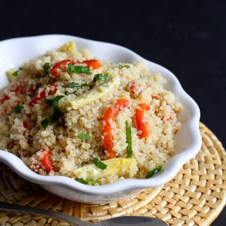 Lemon Quinoa with Artichokes, Roasted Peppers & Basil