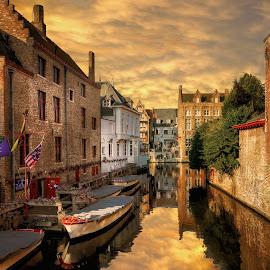 Bruges by Nick Moulds - City,  Street & Park  Street Scenes ( sunset, bruges, belgium, brugge )