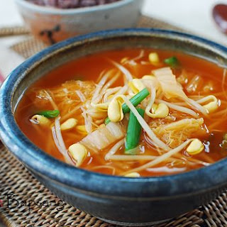 Kimchi Kongnamul Guk (Soybean Sprout Soup with Kimchi)