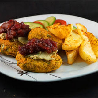 Falafel Burgers with Balsamic Red Onion Marmalade, Minted Hummus & Sweet Potato Wedges