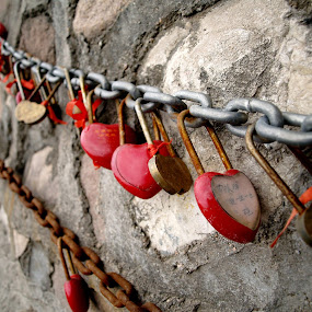Love padlocks by Jakub Juszyński - Artistic Objects Other Objects ( love, felling, heart, chain, wall, padlock, china )