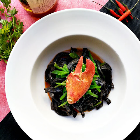 Squid Ink Pasta with Lobster and Sea Urchin