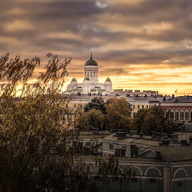 Helsinki by Ole Steffensen - City,  Street & Park  Vistas ( autumn, vista, helsinki, finland, cathedral, city )